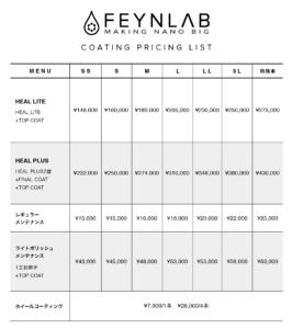 ファインラボ施工料金表